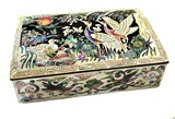 Jewellery box mother of pearl inlaid lacquer trinket box, cranes & mandarin duck