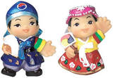 Set of marble doll fridge magnets, boy and girl, handmade gift