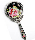Handheld hand mirror, mother of pearl gift, rose