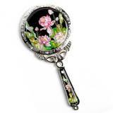 Handheld hand mirror, mother of pearl gift, Lotus