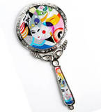 Hand held mirror, mother of pearl gift, mask