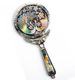 Handheld hand mirror, mother of pearl gift, peacock