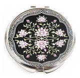 Portable mother of pearl hand mirror, black flowers