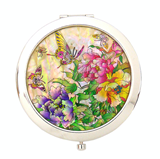 Compact hand mirror, mother of pearl gift, peony