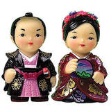 Oriental figurine, handmade Japanese Samurai dolls gift set