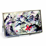 Mother of pearl business card holder, credit cardholder, handmade gift, Scenery