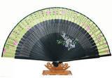 Oriental hand fan, dark green bamboo & light green silk