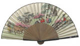 Handheld silk hand fan, mother of pearl gift, oriental drawing 3