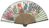 Folding bamboo hand fan, oriental drawing 3, handmade gift