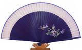 Hand held folding fan, purple bamboo, light pink silk