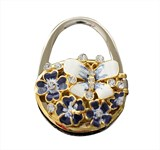 Handbag holder with mirror, bue enamel flower and butterfly