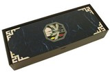 Wooden trinket box mother of pearl inlaid pencil case navy cranes