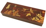 Wooden keepsake box, pencil case, oriental scenery