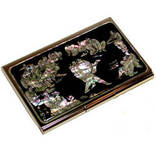 Stainless steel business card holder, credit cardholder, mother of pearl gift, w