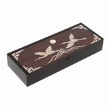 Wooden keepsake box, mother of pearl inlaid. Flying cranes