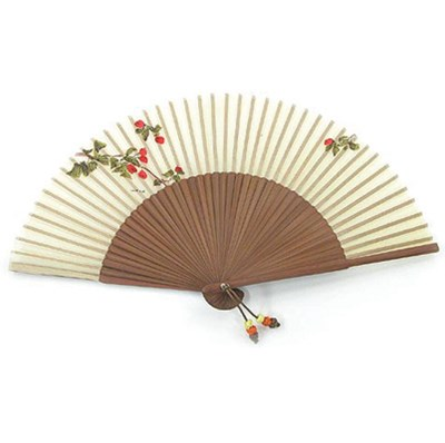Hand fan, brown bamboo & beige silk, Red berry