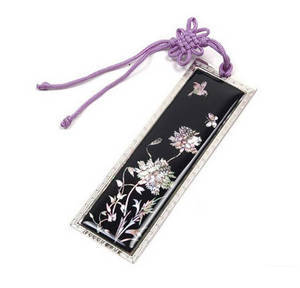 Bookmark, mother of pearl and hand knotted tassel, handmade oriental gift, peony