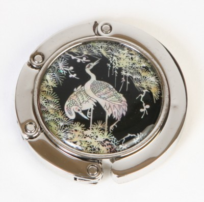 Handbag holder, purse hook, handmade mother of pearl gift, Cranes & Pine tree