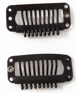 Silver J Clip for hair extension, 30mm, snap clip for DIY use, black 20pcs