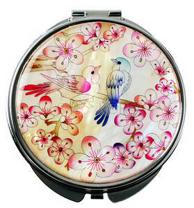 Mother of pearl hand mirror, handmade mother of pearl gift, birds