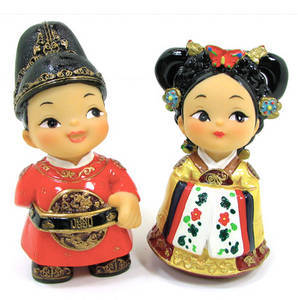 Oriental figurine, handmade King and Queen figurines gift set