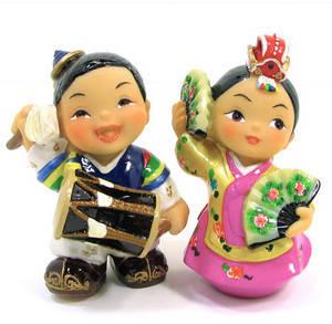 Oriental figurine, handmade dancing couple figurines gift set