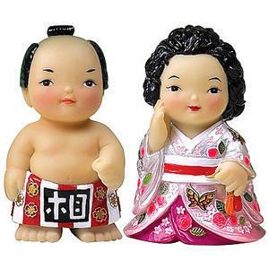 Oriental figurine, handmade Japanese Sumo couple figurines gift set