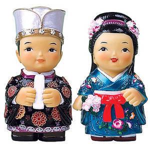 Oriental figurine, handmade Japanese King and queen figurines gift set
