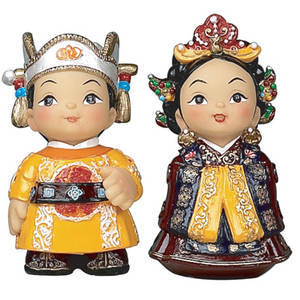 Oriental figurines, King & Queen, hand painted dolls.