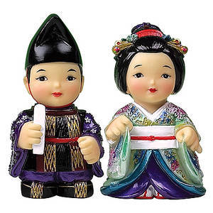 Oriental figurines, Japanese King & Queen, Hand painted gift set.