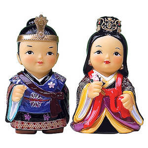 Oriental figurines, Japanese King & Queen, handmade gift set.