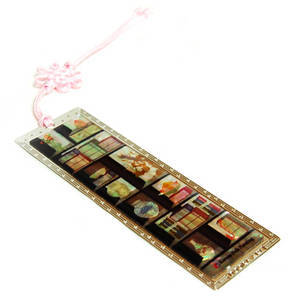 Bookmark, mother of pearl & hand knotted tassel handmade oriental gift, shelf