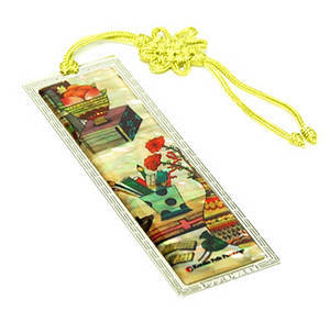 Bookmark, mother of pearl & hand knotted tassel, handmade gift, study room