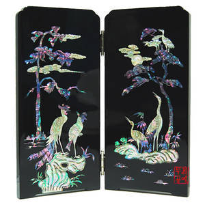 Mother of pearl folding screen, handmade gift
