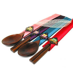 Chopsticks and spoon set of 2 pairs, handmade gift