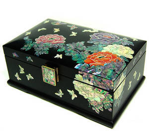Wooden jewellery box with mirror, handmade mother of pearl gift, peony