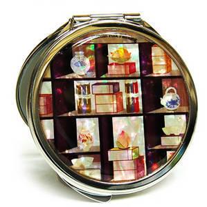 Handbag mirror, compact foldable type, mother of pearl gift,  display shelf