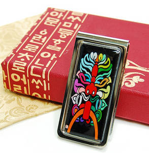 Money clip, stainless steel, handmade mother of pearl gift, oriental beast