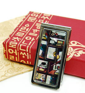 Money clip, stainless steel, handmade mother of pearl gift, bookshelf