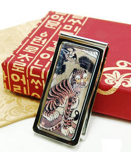 Money clip, stainless steel, handmade mother of pearl gift, tiger