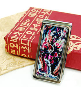 Money clip, stainless steel paper holder, handmade mother of pearl gift, dragon