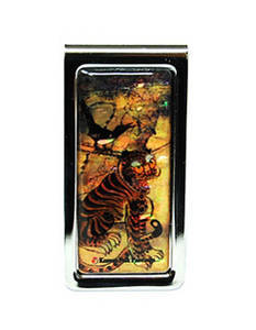 Money clip, stainless steel, handmade mother of pearl gift, tiger 2