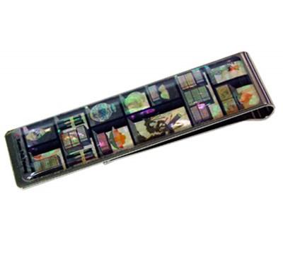 Money Clip bookmark paper clip, mother of pearl gift. Oriental Bookshelf