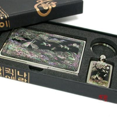 Gift set of business card holder, Key ring, handmade mother of pearl gift, Crane