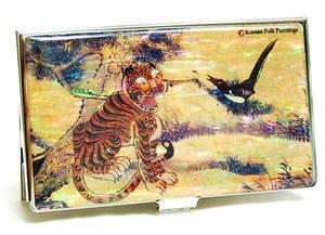 Designer business card holder, mother of pearl gift, Tiger & bird