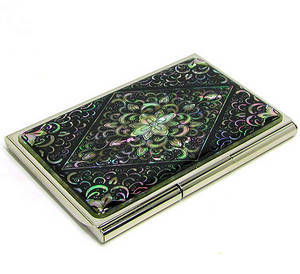 Business card holder, credit card case, mother of pearl handmade gift, Dangcho