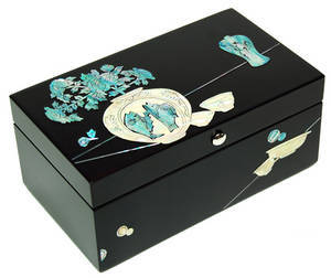 Wooden box for business cards, mother of pearl gift