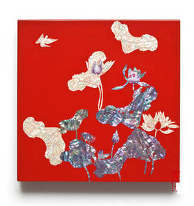 Wall hanger. Mother of pearl home decoration. Lacquer Red Lotus