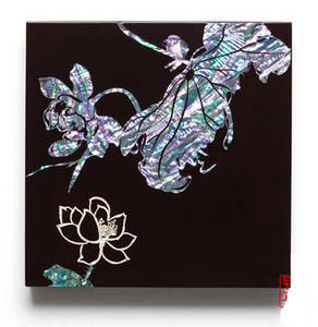 Wall hanger, mother of pearl lacquer home decoration, black lotus 2