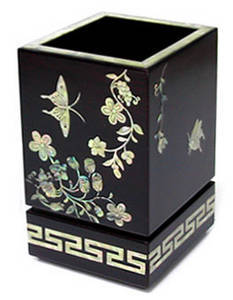 Mother of pearl wooden pen holder, butterfly, desk gift